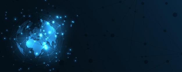 Wereldwijde netwerkverbinding wereldkaart abstracte technische achtergrond wereldwijde innovatie bedrijfsconcept