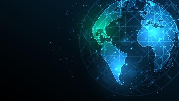 Wereldwijde netwerkverbinding wereldkaart abstracte technische achtergrond