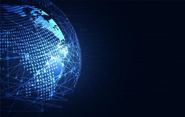 Wereldwijde netwerkverbinding. wereldkaart punt en lijn samenstelling concept van wereldwijde business. vectorillustratie Premium Vector