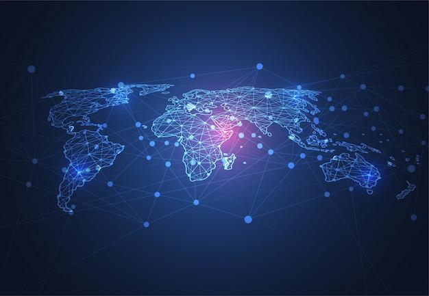 Wereldwijde netwerkverbinding. wereldkaart punt en lijn