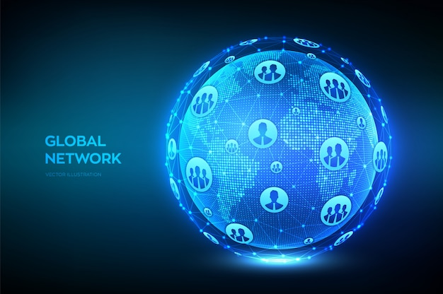 Wereldwijde netwerkverbinding. wereldkaart punt- en lijnsamenstelling. earth globe.