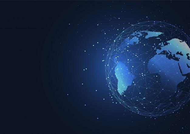 Wereldwijde netwerkverbinding. wereldkaart punt- en lijnsamenstelling