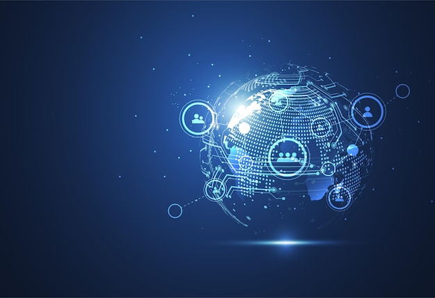 Wereldwijde netwerkverbinding. wereldkaartpunt en lijnsamenstelling concept