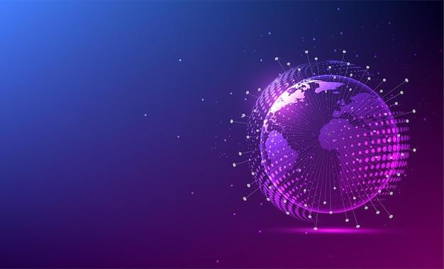 Wereldwijde netwerkverbinding. wereldkaartpunt en lijnsamenstelling