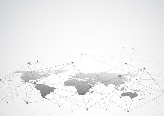 Wereldwijde netwerkverbinding. wereldkaartpunt