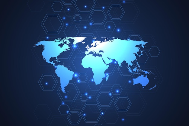Wereldwijde netwerkverbindingen met dynamische punten en lijnen. internet-verbindingsachtergrond met wereldkaart. abstracte verbindingsstructuur. veelhoekige ruimte achtergrond. vector illustratie.