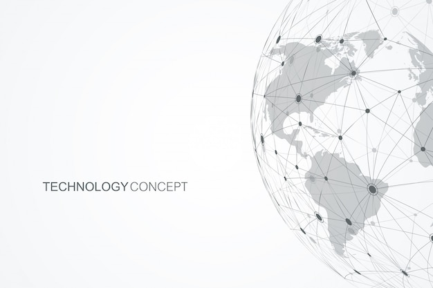 Wereldwijde netwerkverbindingen met punten en lijnen. internet verbinding achtergrond. abstracte verbindingsstructuur. veelhoekige ruimte achtergrond.