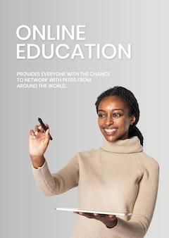 Wereldwijde onderwijssjabloon vector toekomstige technologie