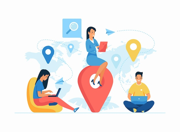 Wereldwijde outsourcing concept platte vectorillustratie. werken op afstand. vrouwelijke cartoonwerkgever die buitenlandse werknemers beheert. internationale werving. wereldwijde connectiviteit en teamwerk in het bedrijfsleven