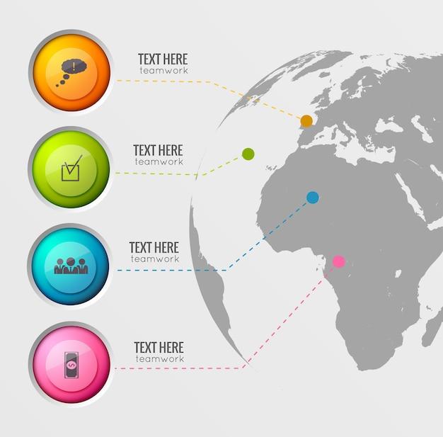 Wereldwijde pictogrammen sjabloon