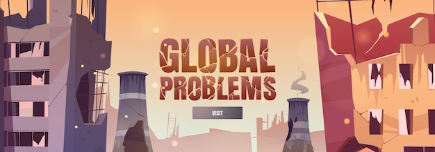 Wereldwijde problemen cartoon webbanner
