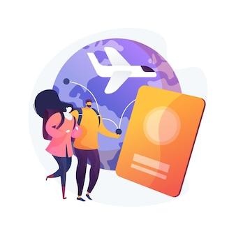 Wereldwijde reizende abstract concept vectorillustratie. wereldwijde verzekering, wereldreis, internationaal toerisme, reisbureau, werkvakantie, luxe vakantieoordketen abstracte metafoor.