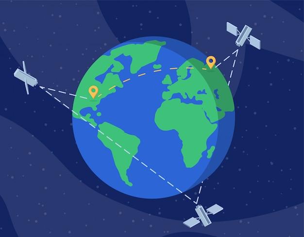 Wereldwijde satelliet netwerk platte vectorillustratie
