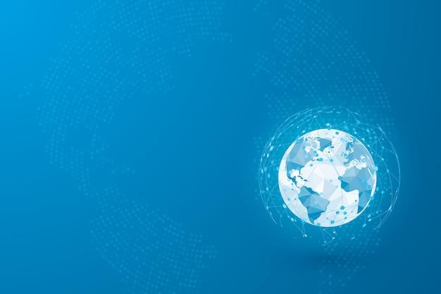 Wereldwijde sociale netwerkverbinding. gebruikersavatars verbonden met het wereldwijde netwerk.