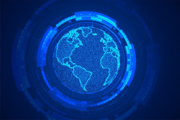Wereldwijde technologie aarde conceptontwerp blauwe achtergrond