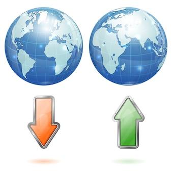 Wereldwijde upload en download