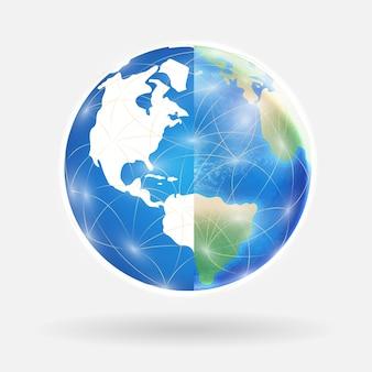 Wereldwijde verbinding met de digitale wereld en de echte wereld