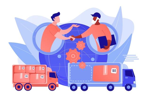 Wereldwijde verzendservice, internationale distributie. collaboratieve logistiek, supply chain-partners, vrachtkostenoptimalisatieconcept. roze koraal bluevector geïsoleerde illustratie