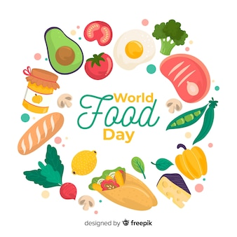 Wereldwijde voedseldag met verschillende voedzame gerechten