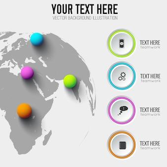 Wereldwijde websjabloon infographic met grijze cirkels pictogrammen bedrijfs en kleurrijke ballen op wereldkaart