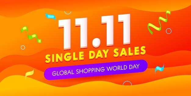 Wereldwijde winkelen werelddag verkoop reclamebanner met typografie en confetti.