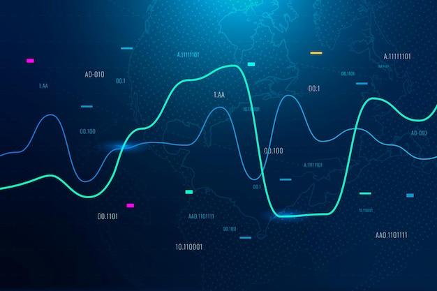 Wereldwijde zakelijke achtergrond met aandelengrafiek in blauwe toon