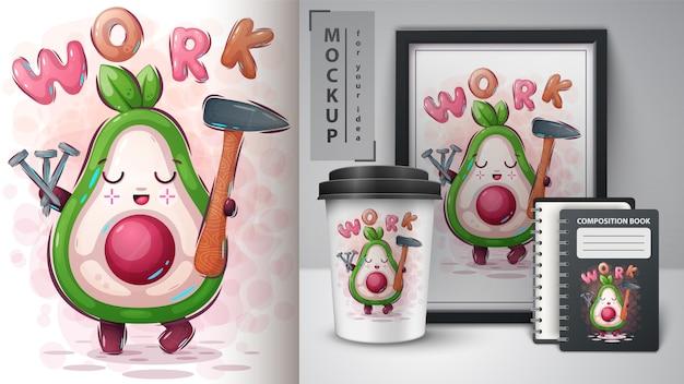 Werk avocado-poster en merchandising