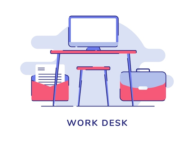 Werk bureau concept computermonitor op tafel stoel