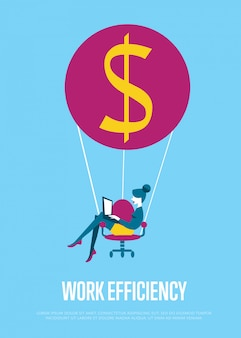 Werk efficiëntie illustratie. vrouw met laptop vliegen