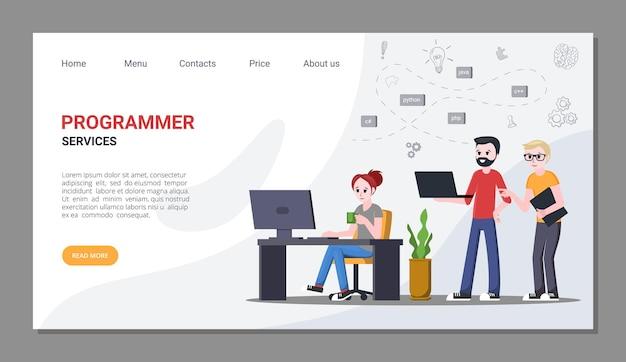 Werk en diensten voor programmeurs homepage. professioneel programmeren en schrijven van nieuwe digitale applicaties die codeerspecialisten trainen met creatieve ontwikkelingen. vector onlinebanner.