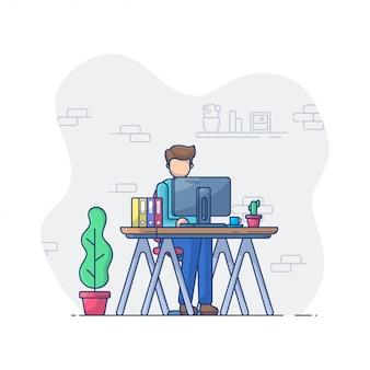 Werk en kantoor illustratie