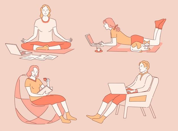 Werk en ontspan thuis cartoon overzicht illustratie. mensen die op afstand werken, mediteren, boeken lezen.