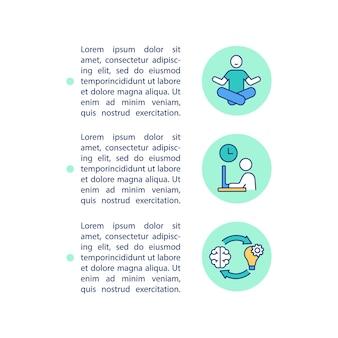 Werk en privé balans concept lijn pictogrammen met tekst