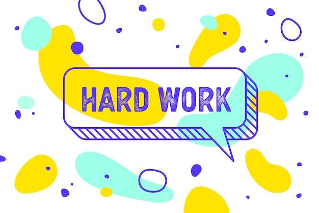 Werk hard. banner, tekstballon, poster en stickerconcept, geometrische memphis-stijl met tekst werkt hard. pictogramballon met citaatbericht werk hard. explosie burst-ontwerp. vectorillustratie Premium Vector