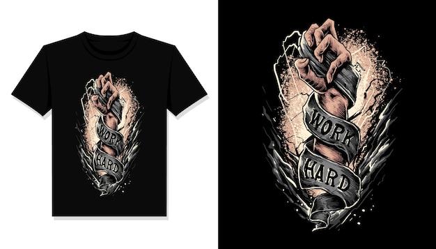 Werk hard illustratie t-shirt