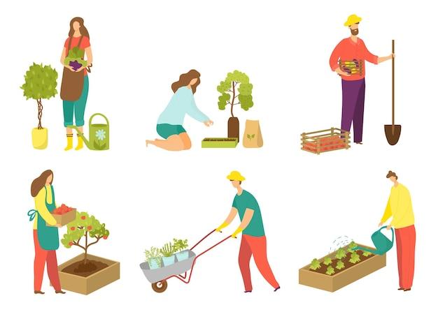 Werk in tuin set vectorillustratie geïsoleerd op witte mensen teken bij tuinieren platte persoon w...