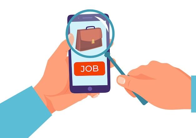 Werk kandidaat zoeken beroep baan mannenhand met vergrootglas en mobiele telefoon