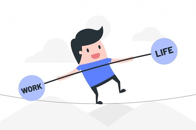 Werk leven balans concept illustratie.