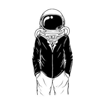 Werk met astronautenkostuum