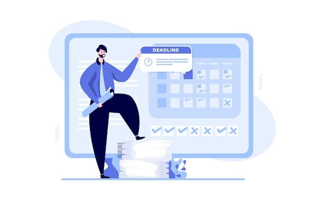 Werk met deadlines en afspraakillustratieconcept
