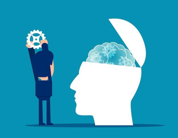 Werk om psychologietherapie met metalen tandwielen te geven
