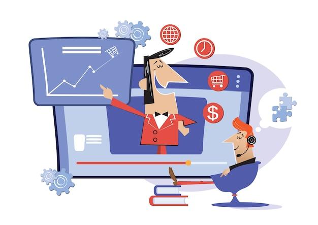 Werk online, internetlessen, onderwijs online. webinar, digitaal klaslokaal online onderwijsmetafoor