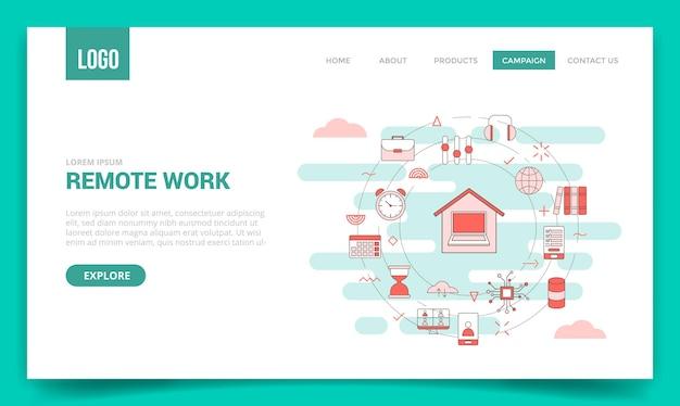 Werk op afstand concept met cirkelpictogram voor websitesjabloon of landingspagina banner homepage overzicht stijl illustratie
