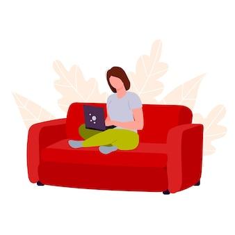 Werk op afstand en studie op afstand op internet persoon houdt zich bezig met online verkopen en kopen
