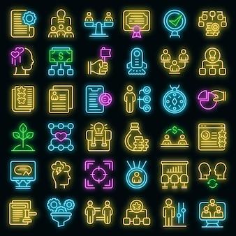 Werk pictogrammen bijdragen vector neon