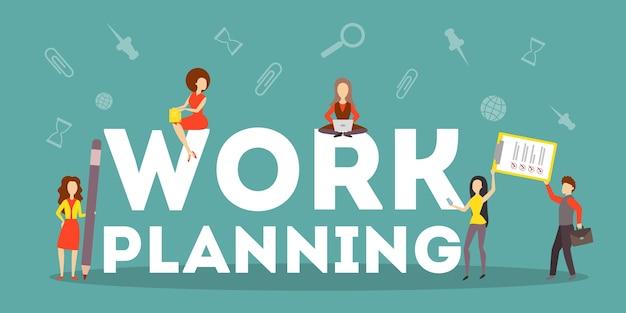 Werk planning bedrijfsconcept. idee van strategie