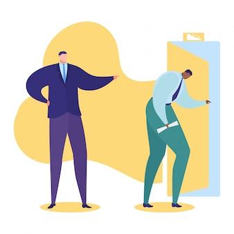 Werk probleem illustratie, cartoon triest zakenman, officemanager karakter wordt ontslagen voor slechte baan concept op wit