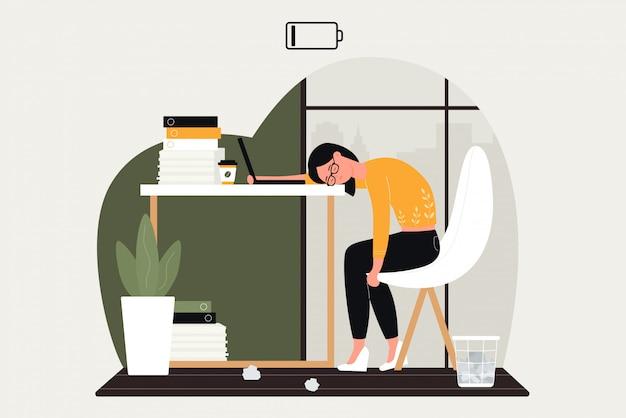 Werk probleem illustratie. triest vrouw stripfiguur hard werken in crisis, boos door problematische zakelijke taak, zakenvrouw zittend aan tafel, gefrustreerd door emotionele overwerk burn-out