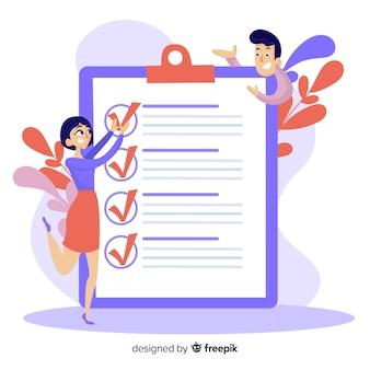 Werk team check lijst gigantische checklist