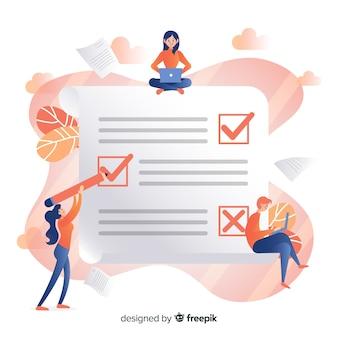 Werk team dat de gigantische checklist controleert